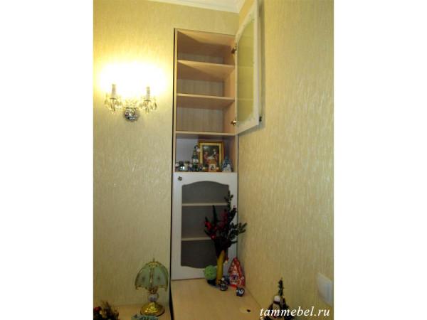 Книжный шкаф с фасадами МДФ в нише.