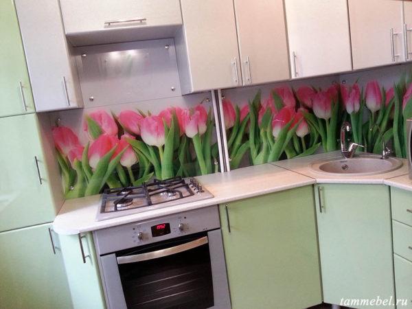 Угловая кухня с фотопечатью